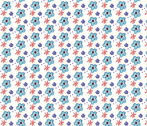 Little Blue Flowers fabric by sarahdesigns on Spoonflower - custom fabric