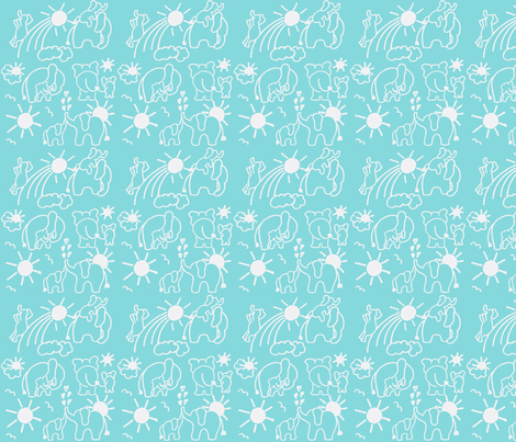 SMALL SCALE  You Are My Sunshine Elephants in Aqua and White fabric by kbexquisites on Spoonflower - custom fabric