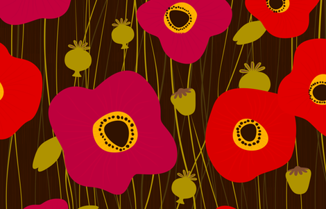 Poppies fabric by friztin on Spoonflower - custom fabric
