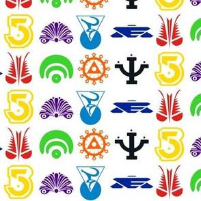 Babylon 5 multi-coloured logos