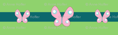 Flutteryshy Gala Sash: Green and Teal Stripes with Butterflies