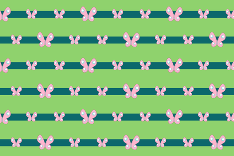 Flutteryshy Gala Sash: Green and Teal Stripes with Butterflies fabric by ninniku on Spoonflower - custom fabric