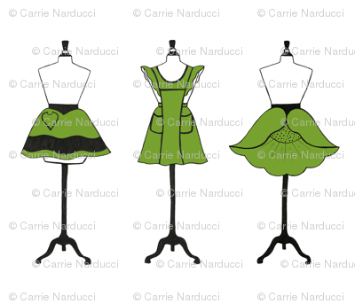 Vintage Aprons in green