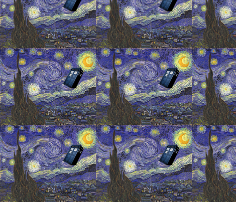 Dr. Who, Van Gogh, Tardis, Starry Night fabric by rdsutherland on Spoonflower - custom fabric