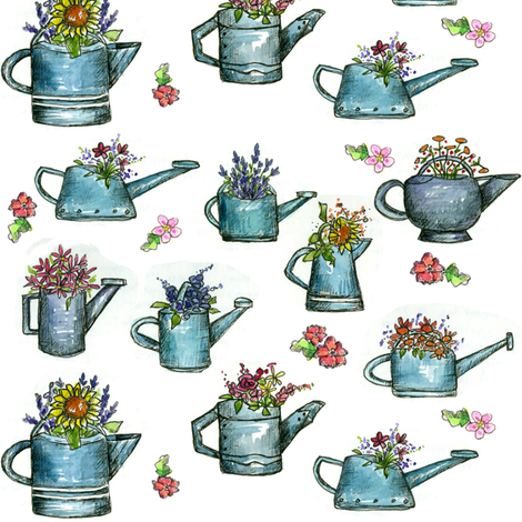 Watering Can Bouquets fabric by countrygarden on Spoonflower - custom fabric