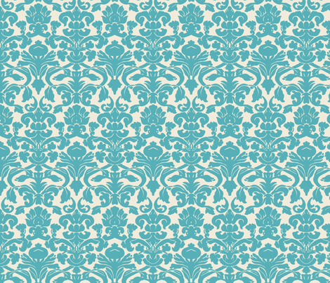 Aqua Damask fabric by nola_original on Spoonflower - custom fabric