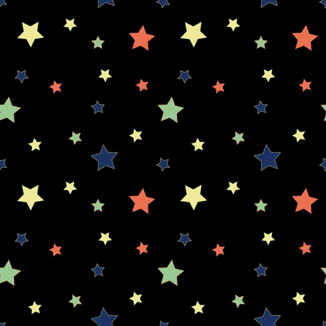 Fabric PopStars black fabric by vannina on Spoonflower - custom fabric