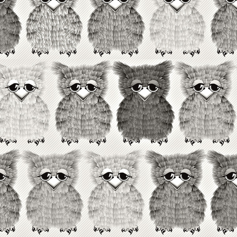 Fuzzy Gray Owlettes fabric by glimmericks on Spoonflower - custom fabric