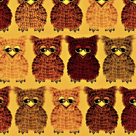 Fuzzy Golden Owlettes fabric by glimmericks on Spoonflower - custom fabric