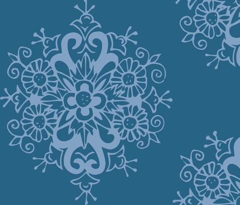 Blue on Blue Bloom fabric by hazelrose on Spoonflower - custom fabric