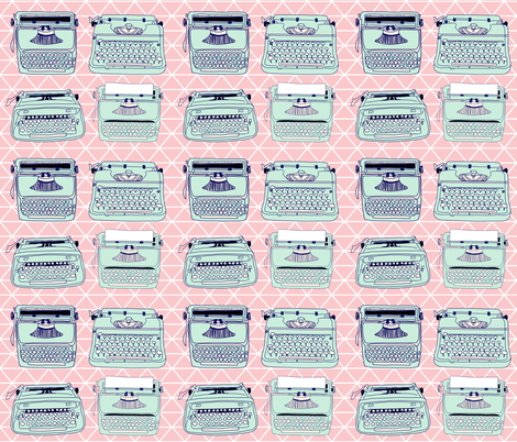 Typewriters Triangle Pink fabric by curious_nook on Spoonflower - custom fabric