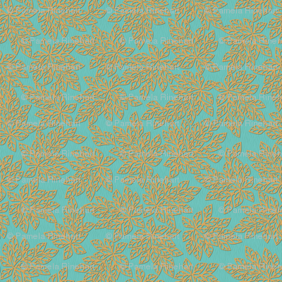 Blazing Leaves - gold turquoise