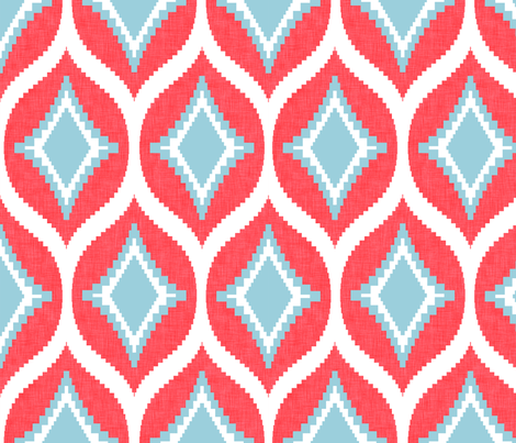 Aztec Diamond Coral fabric by crisbucknall on Spoonflower - custom fabric