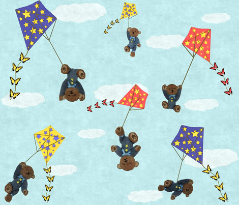 Bears Flying Kites fabric by jabiroo on Spoonflower - custom fabric