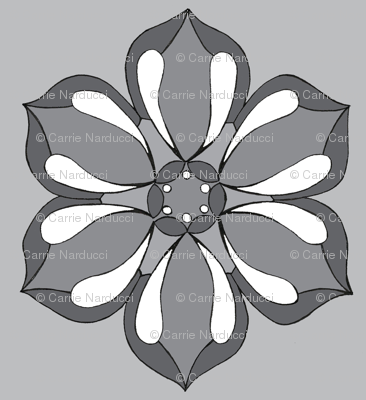 Small Six Petal Floral in gray