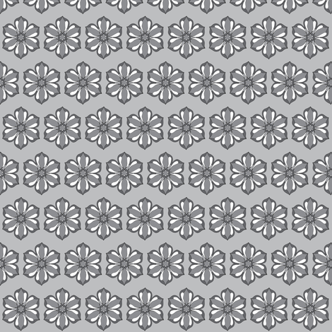 Small Six Petal Floral in gray fabric by cnarducci on Spoonflower - custom fabric