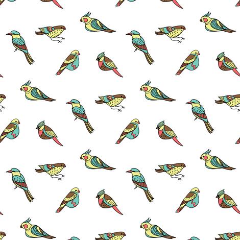doodle birds on white fabric by ravynka on Spoonflower - custom fabric