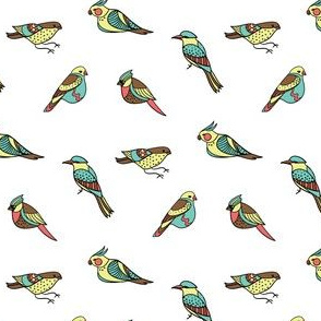 doodle birds pattern on white