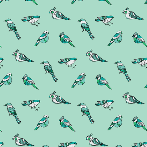 doodle birds pattern on mint fabric by ravynka on Spoonflower - custom fabric