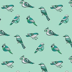 doodle birds pattern on mint