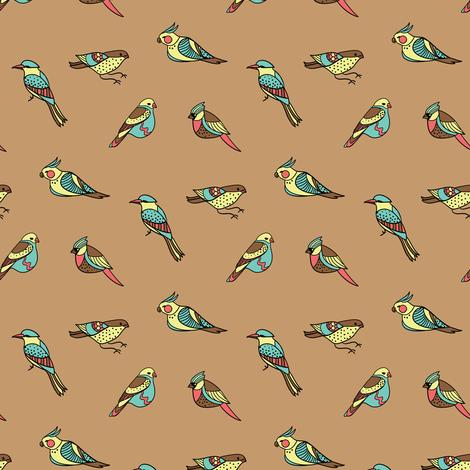 doodle birds on brown fabric by ravynka on Spoonflower - custom fabric