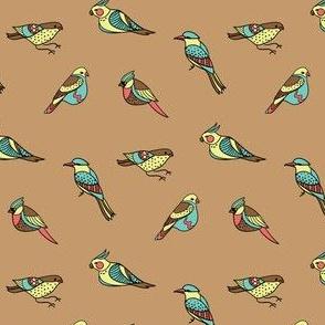 doodle birds on brown