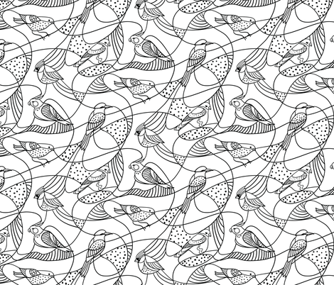 Hidden birds - black and white fabric by ravynka on Spoonflower - custom fabric