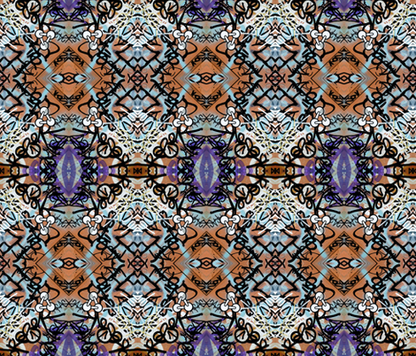 Anthem to Chaos in Orange and Purple  fabric by susaninparis on Spoonflower - custom fabric