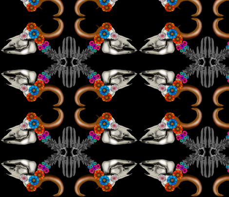 Bison Skull Repeat fabric by boneyfied on Spoonflower - custom fabric