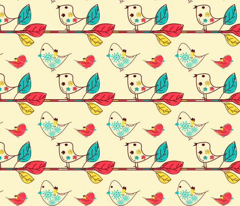 spring birds time fabric by linsen on Spoonflower - custom fabric