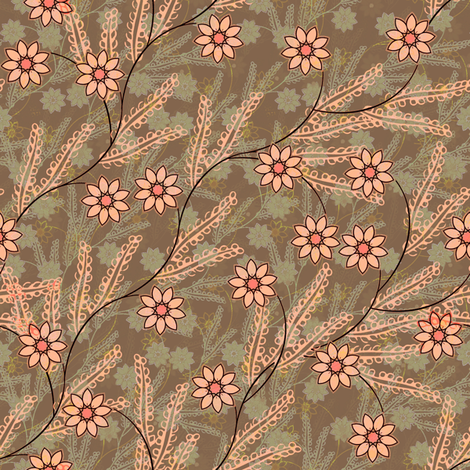 Meadow Floral in peach and taupe fabric by joanmclemore on Spoonflower - custom fabric