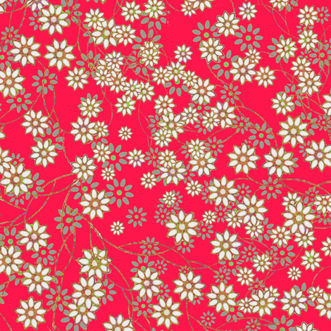 Meadow Floral Sprays in Rose fabric by joanmclemore on Spoonflower - custom fabric