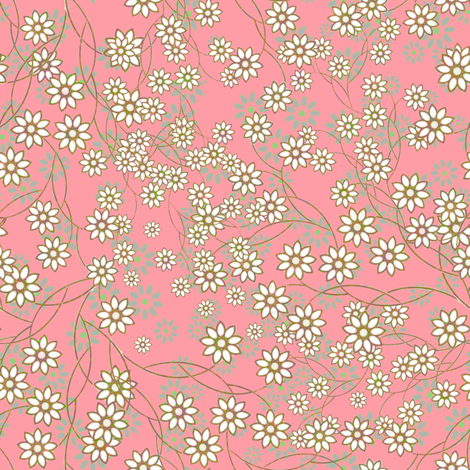 Meadow Floral Sprays in pink fabric by joanmclemore on Spoonflower - custom fabric