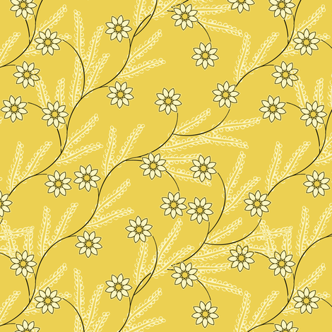 Meadow Vine in yellow  fabric by joanmclemore on Spoonflower - custom fabric