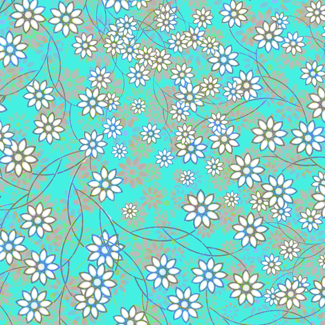 Meadow Floral Sprays in aqua fabric by joanmclemore on Spoonflower - custom fabric