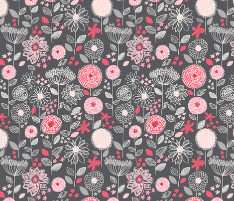 flowers_a_fantasy_gray fabric by stacyiesthsu on Spoonflower - custom fabric