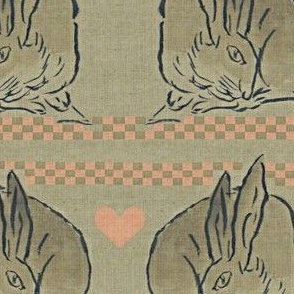 Amorous Spring Hares - taupe, charcoal & salmon pink.  Valentines Day.
