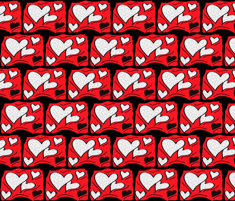 Heart bricks  fabric by tajaan on Spoonflower - custom fabric