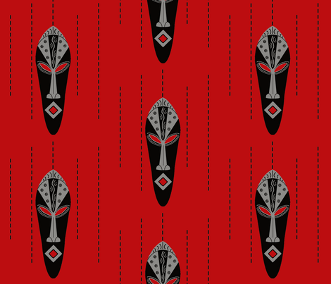 African Modern / mask-red fabric by paragonstudios on Spoonflower - custom fabric