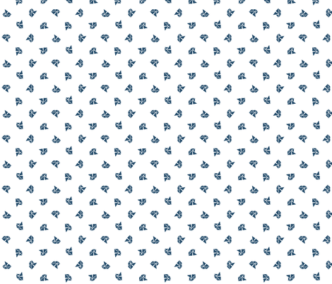 Mini navy tangram sail boats on white fabric by little_fish on Spoonflower - custom fabric