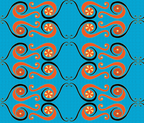 African Swirls_large repeat_with patterned background fabric by kfrogb on Spoonflower - custom fabric