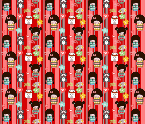 Kato kokeshi fabric by kato_kato on Spoonflower - custom fabric
