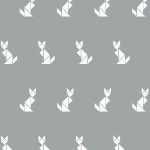 Tangram cats in white on grey