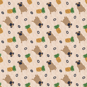 Primitive Pug and pineapple - ditsy