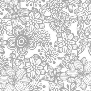 Pop Floral Bold Grey & White