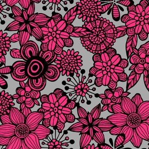 Pop Floral Bold Pink & Grey