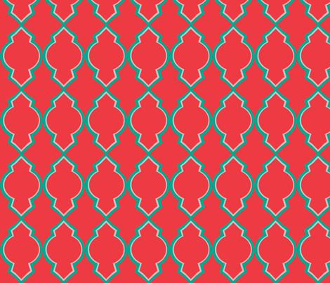 Moroccan Navy-Coral-ed-ch fabric by megancarn on Spoonflower - custom fabric
