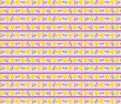 Chicks & Flowers Lavender fabric by edmillerdesign on Spoonflower - custom fabric