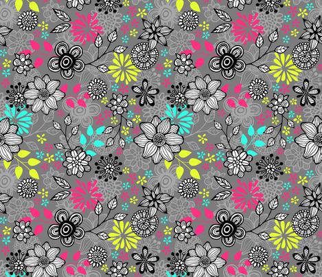 Pop Floral Multi fabric by alissecourter on Spoonflower - custom fabric