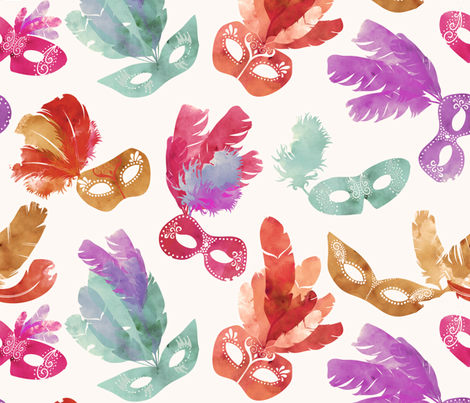 Mardi Gras Masquerade Vintage fabric by sara_berrenson on Spoonflower - custom fabric